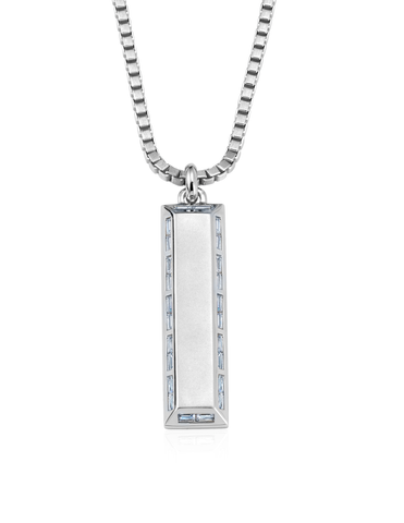 Mens Matte Box Chain Bar Necklace with Baguettes Finished in Pure Platinum