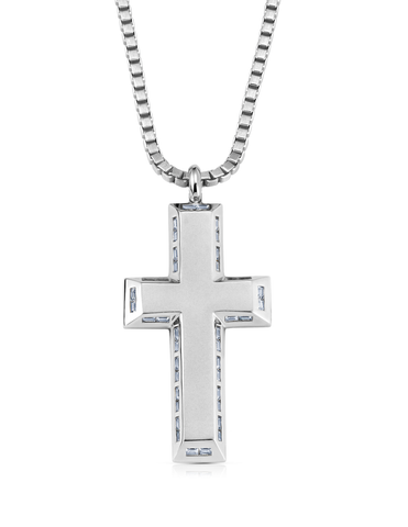 Mens Matte Box Chain Cross Necklace with Baguettes Finished in Pure Platinum