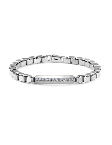 Mens Matte Large Box Chain Pave ID Bracelet in Pure Platinum