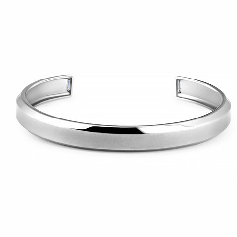 Mens Smooth Cuff Bangle with Baguettes Finished in Pure Platinum