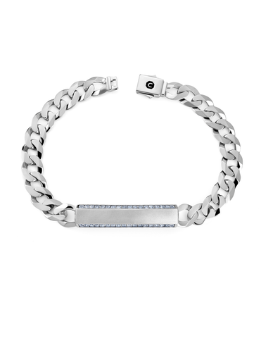 Mens Matte Curb Chain ID Bracelet with Brilliant Center Finished in Pure Platinum