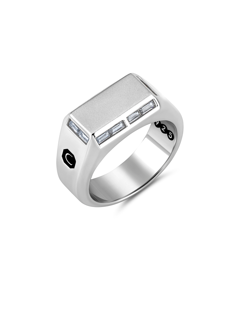 Mens Small Signet Ring with Baguettes Finished in Pure Platinum