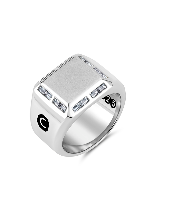 Mens Large Signet Ring with Baguettes Finished in Pure Platinum