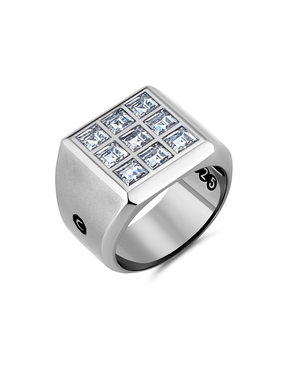 Mens 9 Stone Square Cut Signet Ring Finished in Pure Platinum