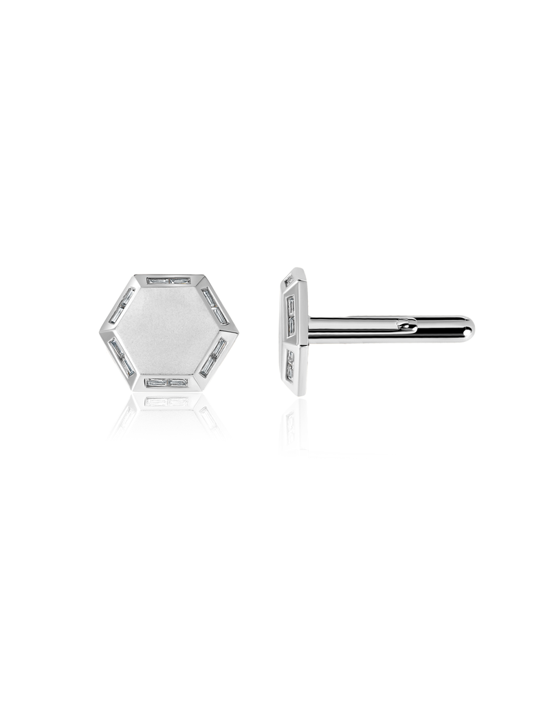 Mens Octagon Cufflinks accented with Baguettes finished in Pure Platinum