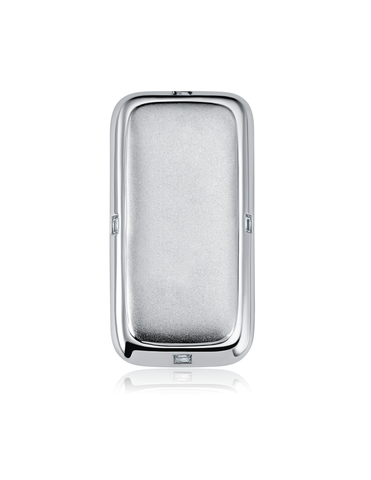 Mens Matte/Shiny Money Clip with Baguettes Finished in Pure Platinum