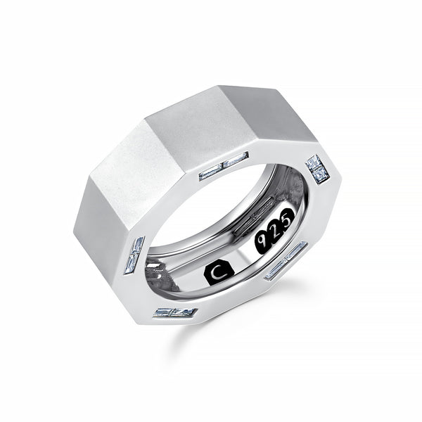 Mens Matte Octagon ring with inlayed Side Baguettes Finished in Pure Platinum