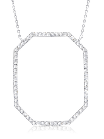 Open Octagon Pave Necklace In Pure Platinum