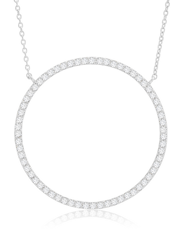 Open Pave Circle Necklace In Pure Platinum