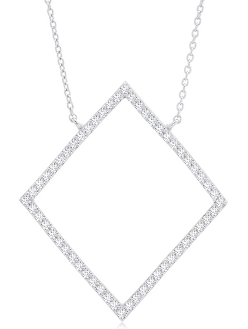 Open Pave Diamond Necklace In Pure Platinum