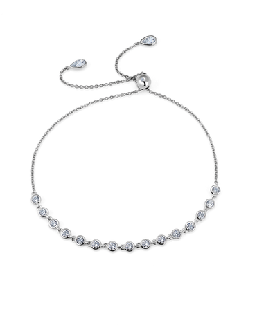 Adjustable Bezel Bracelet Finished in Pure Platinum