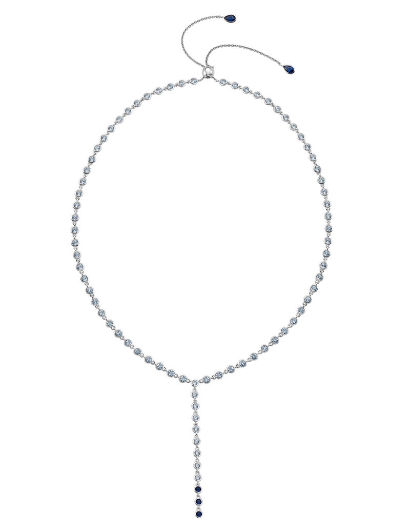 Sapphire Bezel Y- Necklace Finished in Pure Platinum