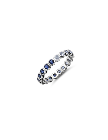 Small Sapphire Bezel Eternity Band Finished in Pure Platinum