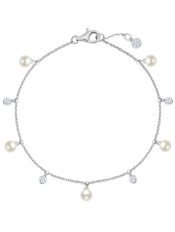 Multi Station Genuine Pearl Bracelet with CZ Bezel Set in Pure Platinum