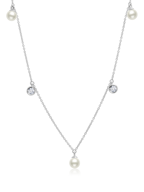 Genuine Pearl Drop Necklace with CZ Bezel Set Finished in Pure Platinum