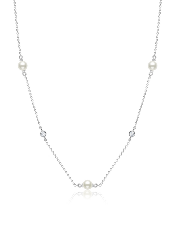 "Genuine Pearl 16""Multi Station Necklace accented with Bezel Set CZ in Platinum"
