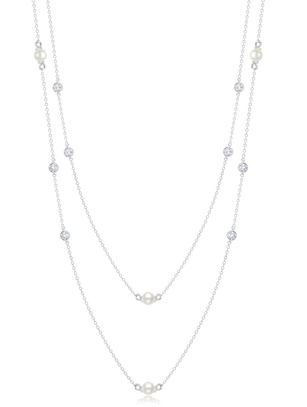 Genuine Double Layered Pearl Necklace Finished in Pure Platinum