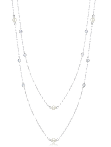 "Genuine Pearl 36""  Multi Station Necklace accented with  Bezel Set  Flawless Cubic Zirconia In Pure Platinum"