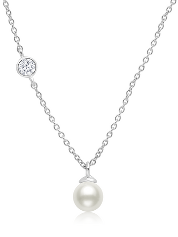 Genuine Pearl Drop Pendant  accented with Bezel Set  Cubic Zirconia In Pure Platinum