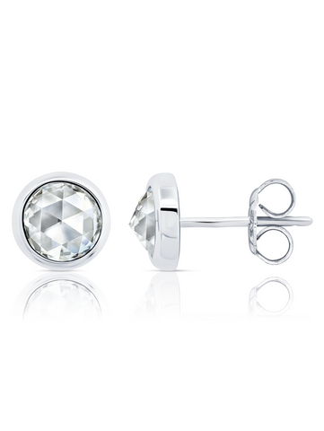 Classic Rosecut Brilliant Stud Earring In Pure Platinum