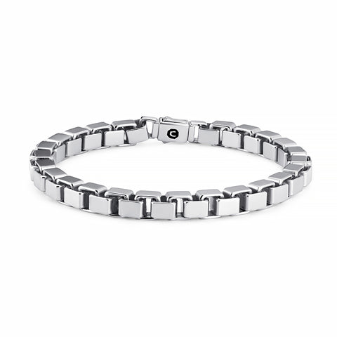 Mens Box Chain Bracelet Finished in Pure Platinum