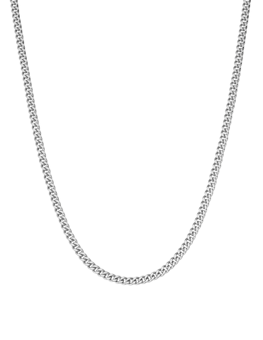Mens Matte Curb Chain Necklace Finished in Pure Platinum