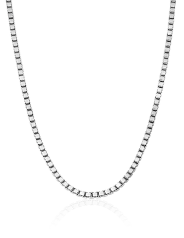 Mens Matte Box Chain Necklace Finished in Pure Platinum