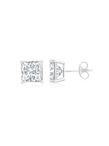 Mens 6.00 Square Cut CZ Stud In Pure Platinum