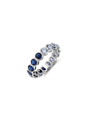 Large Sapphire Bezel Eternity Band Finished in Pure Platinum