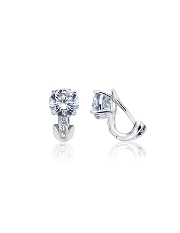 Postless Stud Earrings Finished in Pure Platinum
