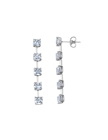 Asscher Cut Bar Linear Earrings Finished in Pure Platinum