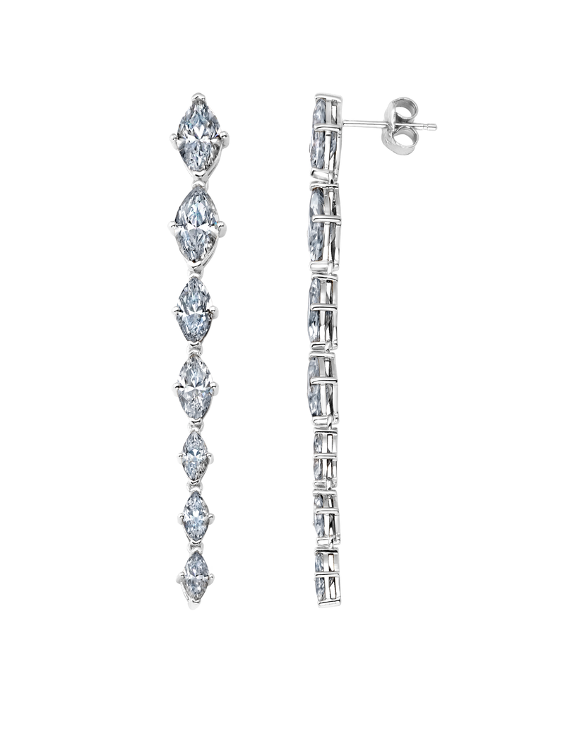 Graduated Marquis Linear Earrings Finished in Pure Platinum