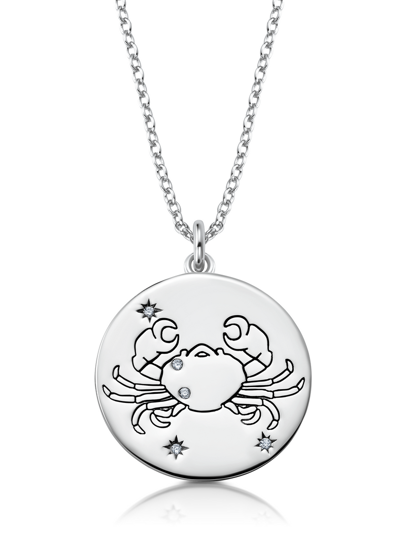 Cancer - Zodiac Necklace Finished in Pure Platinum