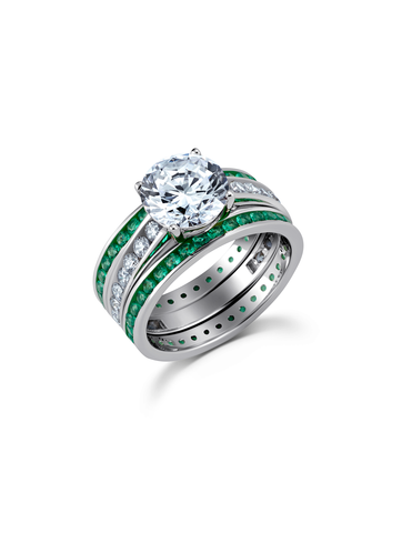 Engagement Ring Set with Emerald Bands Finished in Pure Platinum