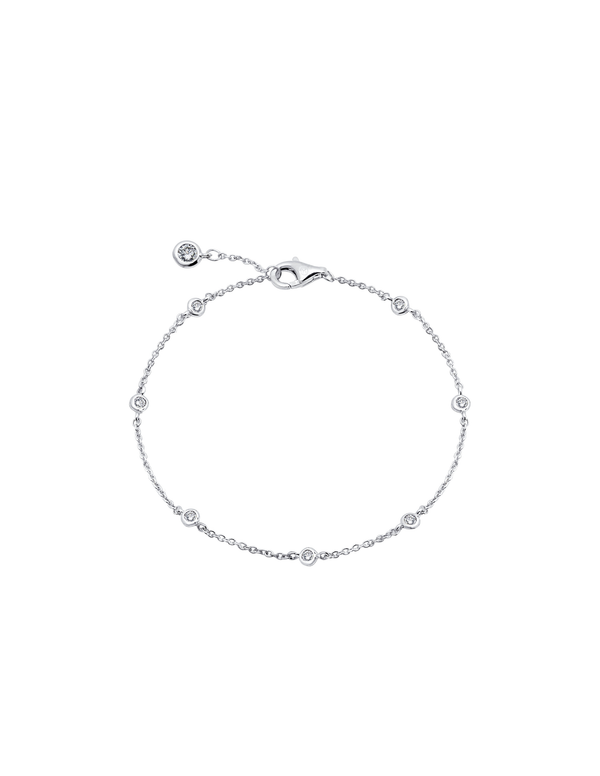 Small Bezel Station Anklet Finished in Pure Platinum