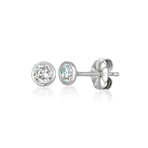 Solitaire Bezel Set Earrings Finished in Pure Platinum - 1.0 Cttw