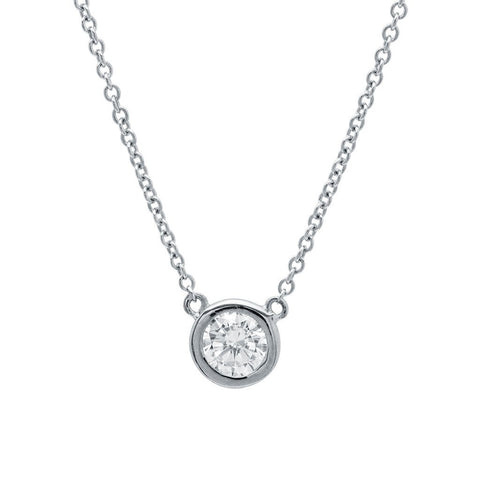 Solitaire Bezel Pendant Small Finished in Pure Platinum