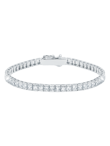 Pure platinum Classic Medium Princess cubic zirconia Tennis Bracelet