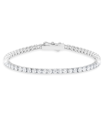 Pure platinum Classic Medium Brilliant cubic zirconia Tennis Bracelet