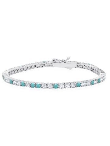 Turquoise and Flawless Cubic Zirconia Tennis Bracelet In Pure Platinum