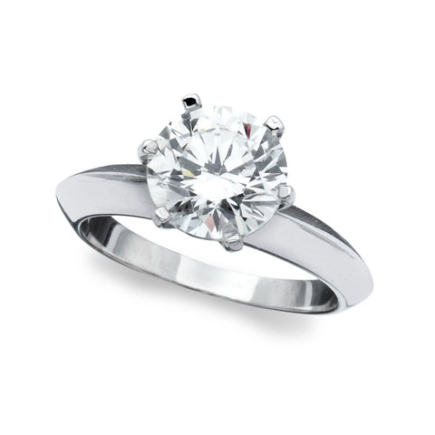 Classic Brilliant Solitaire cubic zirconia engagement Ring