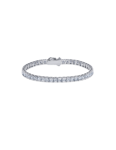 Mens Square Cut Tennis Bracelet Finished in Pure Platinum