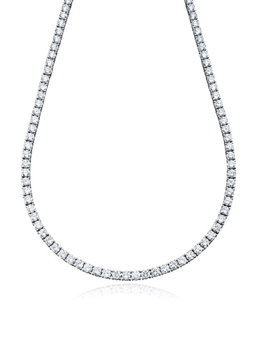 Pure platinum Classic cubic zirconia Tennis Necklace