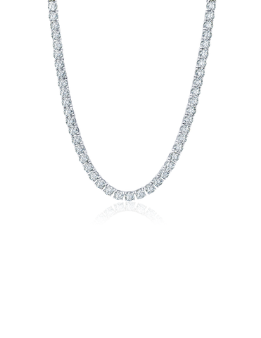 Mens Brilliant Cut Tennis Necklace Finished in Pure Platinum