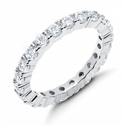 Brilliant Round Cut Eternity Band - 3 mm - Finished in Pure Platinum