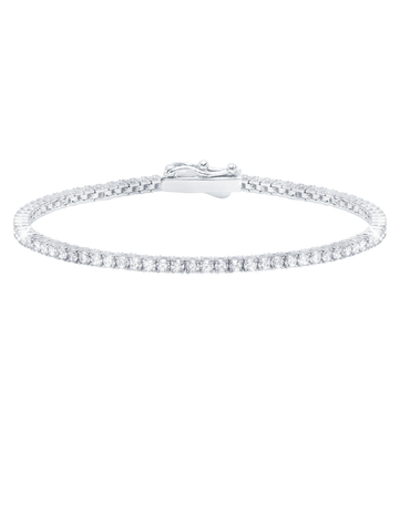 Classic Small Brilliant Tennis Bracelet Finished in Pure Platinum