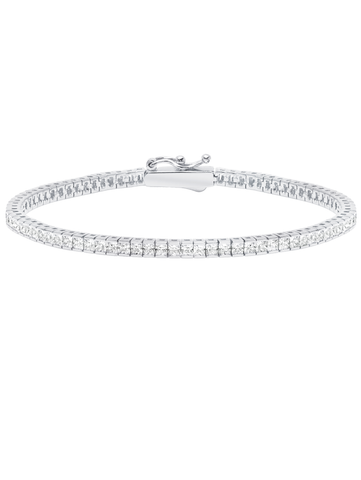 Pure platinum Classic Small Princess cubic zirconia Tennis Bracelet