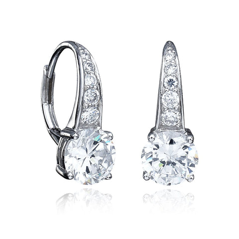 Accented Brilliant Cut Leverback Cubic Zirconia Earrings Pure Platinum