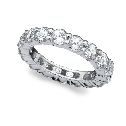 Pure platinum Brilliant Round Cut Eternity Band cubic zirconia engagement ring