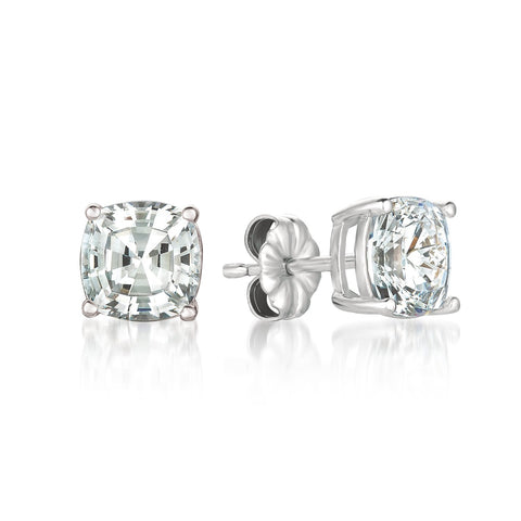 Solitaire Asscher Earrings Finsihed in Pure Platinum - 4.0 Cttw